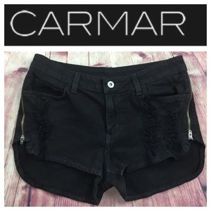 🐞CARMAR black distressed side zippered shorts